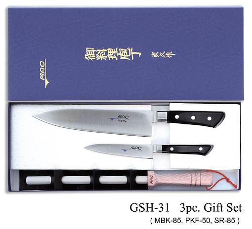 Zestaw noży kuchennych serii profesional z ostrzałką, 3 szt. : MBK-85 nóż szefa kuchni PKF-50 nóż do obierania SR-85 ostrzałka ceramiczna