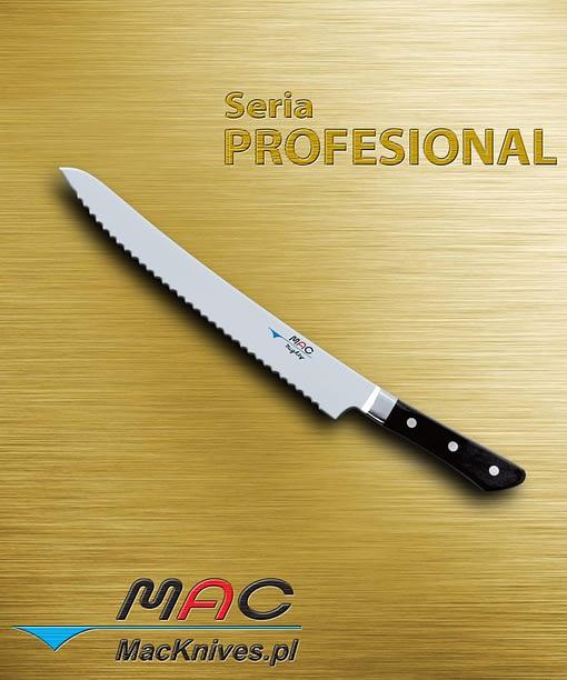 Nóż kuchenny z ząbkowanym ostrzem. Nie tylko do chleba i ciasta, można również kroić wędlinę i mięsa. Doskonale nadaje się do cięcia owoców i warzyw. Ostrze 266 mm