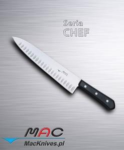 Cooks Knife – nóż kucharza. Ostrze 255 mm Wszechstronny nóż kucharzy, z zagłębieniami w ostrzu, wszechstronny.