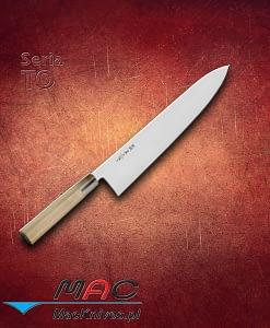 Nóż kuchenny Gyutou. Japoński nóż szefa kuchni o cienkim ostrzu przeznaczony do krojenia. Zaskakująco lekki i bardzo ostry. Posiada zaostrzoną z obu stron krawędź MAC. Ostrze 300 mm