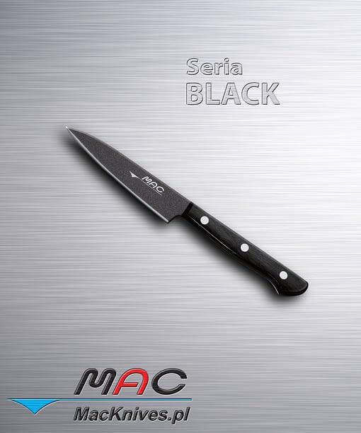 Lekki i ostry nóż do obierania. Czarna nieprzywierająca powłoka sprawia, że nóż nie lepi się do żywności. Ostrze 100 mm