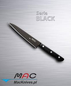 Lekki i ostry nóż kuchenny do obierania. Czarna nieprzywierająca powłoka sprawia, że nóż nie lepi się do żywności. Ostrze 135 mm