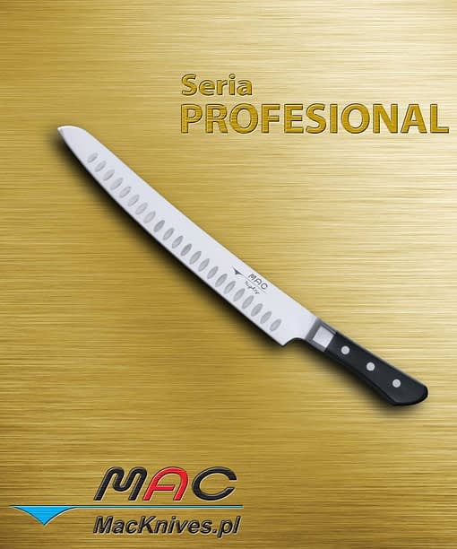 Slicer – nóż do krojenia. Ostrze 270 mm Nóż ogólnego przeznaczenia do krojenia pieczeni, wędlin, indyka i wielu innych. Zagłębienia w ostrzu dzięki kieszonkom powietrza pozwalają na poślizg między krojonym produktem a nożem, zmniejszając przyklejanie się cienkich kawałków do ostrza noża.