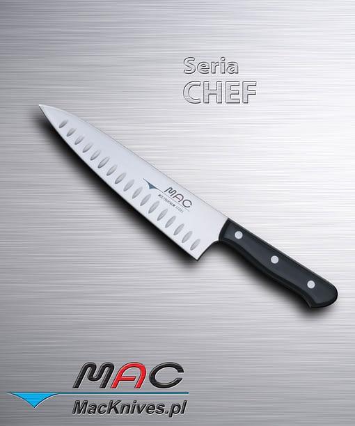 Cooks Knife – nóż kucharza. Ostrze 200 mm Wszechstronny nóż kucharzy, z wydrążonymi zagłębieniami w ostrzu, do krojenia i siekania.