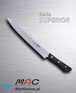 Nóż kuchenny z ząbkowanym ostrzem. Nie tylko do chleba i ciasta, można również kroić wędlinę i mięsa. Doskonale nadaje się do cięcia owoców i warzyw. Ostrze 270 mm
