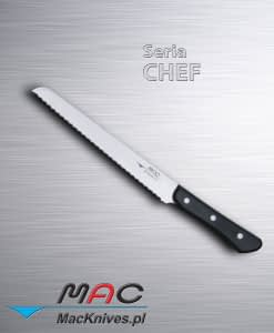 Bread Knife – nóż do chleba. Ostrze 220 mm Nóż do pieczywa z ząbkowanymi ostrzami. Nie tylko do chleba i ciasta, można również kroić wędlinę i mięso. Doskonale nadaje się do cięcia owoców i warzyw.