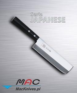 """Japanese Vegetable Knife – japoński kuchenny nóż do warzyw. Tasak do warzyw z okrągłym uchwytem. Do krojenia oraz siekania warzyw i owoców.Zaostrzony z obu stron (ostrze V). Zwycięzca konkursu na najlepszy nóż roku 2011 w najbardziej prestiżowym magazynie kulinarnym Stanów Zjednoczonych """" Cook's Illustrated"""". Ostrze 165 mm"""